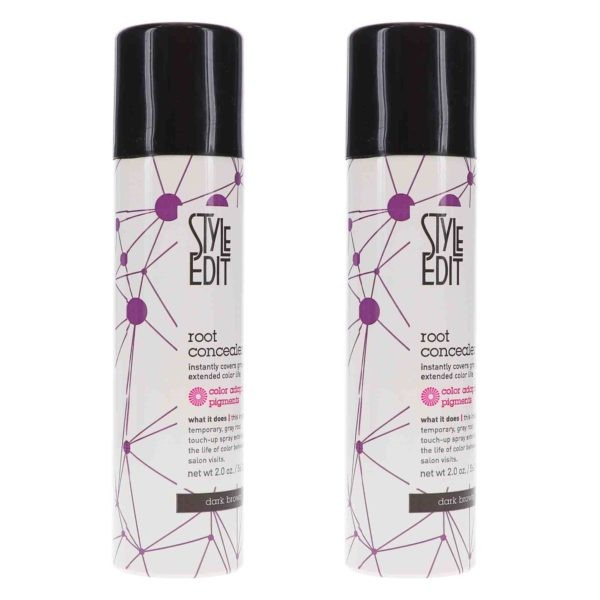 Style Edit Dark Brown Root Concealer Touch Up Spray 2 oz 2 Pack